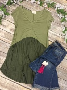 Casual But Cute Top In Olive Sizes 4-10