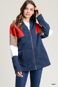 On My Way Striped Jacket In Navy- Sizes 4-10
