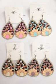 Sunny Day Sunflower And Leopard Teardrop Leather Earrings In Multiple Colors