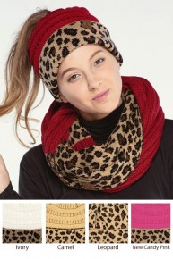 Everything Leopard CC Contrast Ponytail Beanie - Multiple Colors