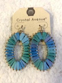 Swimming Away Oval Thread Earrings In Sea Blue