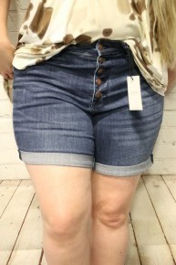 The Susan Judy Blue Button Fly Cuffed Shorts ~ Sizes 4-20