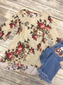 The Time Is Now Floral Top With Bubble Sleeves In Tan - Sizes 12-20