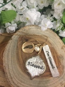 I'm Blessed Charm necklace In Gold & Silver
