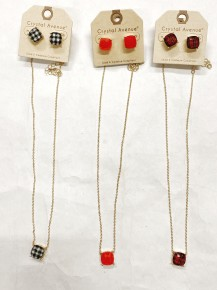 Elegancy At It's Finest Necklace & Stud Earring Set - Multiple Prints