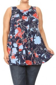 Roses Are Red Floral Tunic Tank in Navy - Sizes 12-20