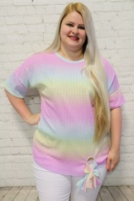 Always Laugh Tie Dye Top With Tie Front- Sizes 12-20