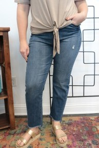 The Sophia Jeans with Frayed Hem In Denim- Sizes 12-20
