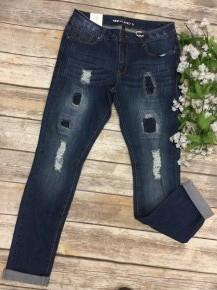 The Hannah Distressed Cuffed Skinny Jeans In Medium Denim - Sizes 1-15 - Nine Planet