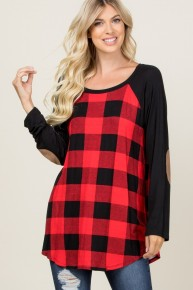 In My Father's House Buffalo Plaid Contrast Top With Suede Brown Elbow Patch In Black - Sizes 4-10