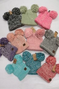 Adult Double Pom CC Beanie in Multiple Colors