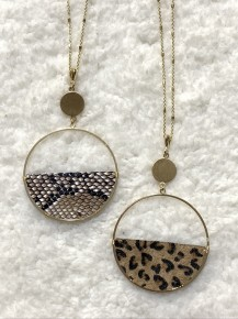 Steal the Sunshine Gold Necklace with Animal Print Half Circle in Multiple Prints