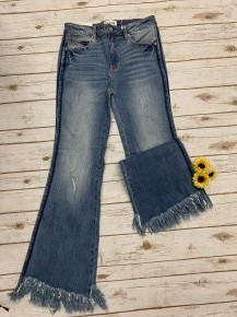 The Colbie Frayed Flare Jeans - Sizes 0-15