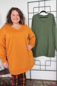 Over The Hills Oversized V-Neck Sweatshirt- Multiple Colors - Sizes 12-20
