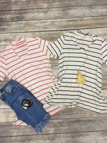 Have It Your Way Striped Top With Choker Neck Detail - Multiple Colors- Sizes 4-10
