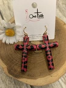 All Crossed Up Leopard Earrings in Hot Pink