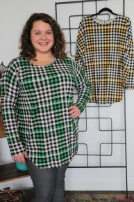 Stay Close Long Sleeve Plaid Top in Multiple Colors Sizes 12-2-