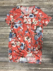 Fearless & Free Floral Top with Knot in Coral - Sizes 4-10