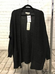 Staying Focused Black Crochet Cardigan with Front Pockets