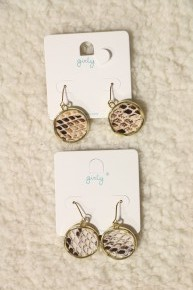 Be Brave Circle Drop Snakeskin Earring In Multiple Colors