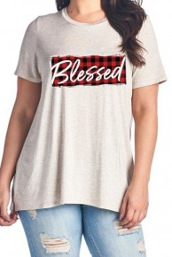 Blessed Buffalo Plaid Graphic Tee - Multiple Colors - Sizes 12-20