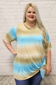 End Of The Sunset Tie-Dye Top in Tan & Mint - Sizes 12-20