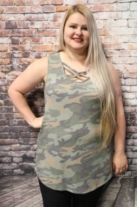 Into The Woods Camo Top With Lattice Neck- Sizes 12-20