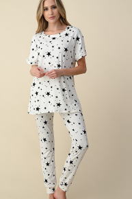 Lucky Star White and Navy Short Sleeve Jogger Pajam Set- Sizes 4-20