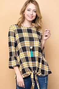 Sugar & Spice Plaid Top With Tie Front - Multiple Colors - Sizes 4-20
