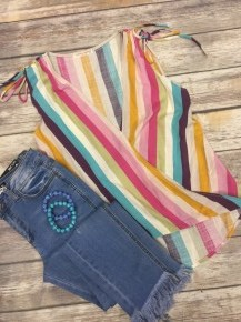 Looking Like A Dream Striped Wrap Tank Top In Multicolor - Size 4-10