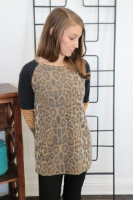 All The Time Leopard Raglan And Stripe Contrast Top- Sizes 4-10