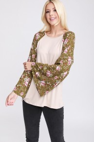 Forward Fashion Contrast Top With Floral Bell Sleeve In Taupe - Sizes 12-20