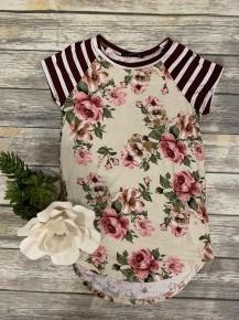 Floral & Stripes Raglan Top - Sizes 4-20