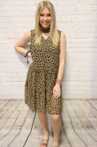 Leopard Printed Dress with Gold Polka Dots  & Keyhole Neckline