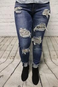 The Trixie Leopard Patch Mid Rise Jeans - Sizes 1-13