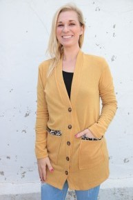 Spun Tight Mustard Cardigan With Leopard Accents In Mustard - Sizes 4-10