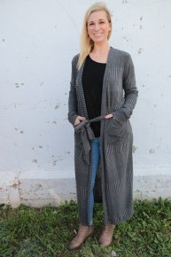 I've Got A Surprise For You Long Cardigan With Tie Waist In Charcoal