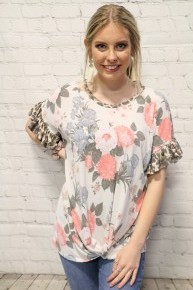 Million Years Ago Floral & Leopard Ruffle Sleeve Top With Knotted Hem- Sizes 4-20