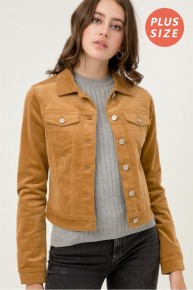 Wonderful Life Camel Corduroy Button Up Jacket