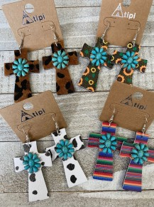 Leather Cross Earring with Turquoise Charm - Multiple Colors
