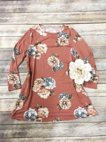 You're Not Ordinary Long Sleeve Floral Dress In Mauve - Sizes 12-20