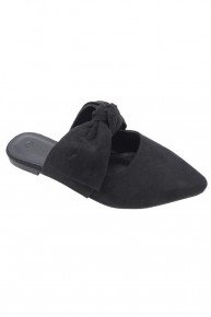 Pretty Little Thing Black Mules With Bow In Black