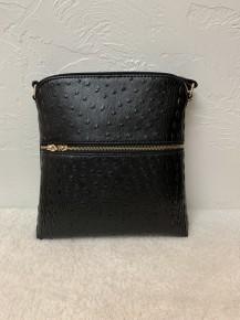 Ostrich Croc Zip Tassel Crossbody Bag in Multiple Colors