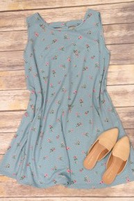 Family Picnic Polka Dot And Floral Dress In Blue Sizes 4-20
