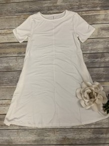 Flair It Up T-Shirt Dress In White