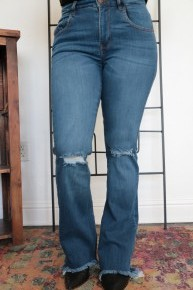 Love Like This Denim Bell Bottom With Distressed Knee- Sizes 5-15
