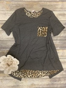 It's Up To You Leopard Contrast Top - Sizes 4-20 - Multiple Colors