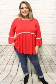Glorify The Name Of All Names Red Babydoll Top With Eyelet Trim - Sizes 12-20