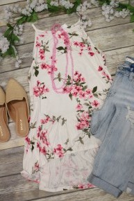 See You Around Floral Tank Top In White Sizes 4-12