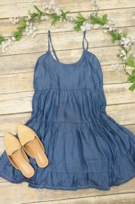 Make Your Day Perfect Denim Tiered Dress With Frayed Hem- Sizes 4-10